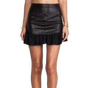 PJK Lamb leather and silk skirt